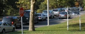 Daily traffic going in and out of college grounds (Photo, compliments of Lauren Maio)