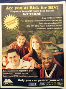 Flyer in the Babylon Student Center where Health Services is sponsoring the HIV/STD Screenings for students.