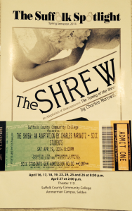 The shrew playbill and admission ticket