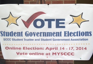 The Student Government Elections sign in the Babylon Student Center