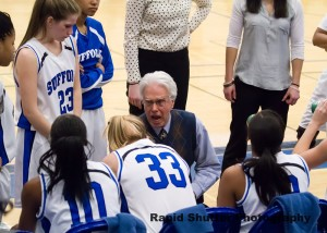 Coach Kevin Foley increases enthusiasm of Women Basketball Team during Regionals game against Rockland Community College.