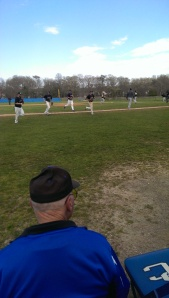 Suffolk baseball players running off the field against Bronx Community College