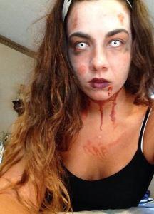 Selfie by Denise Urbanski, Stage make up student, demonstrating zombie make up.